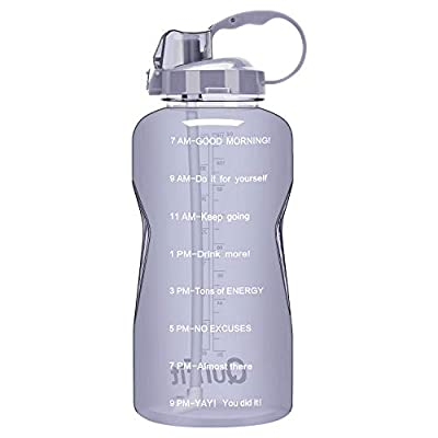 QuiFit Half Gallon Water Bottle with Straw & Time Marker Leak Proof BPA Free Reusable Large Capacity Fitness Sport Water Jug with Handle (Mauve 64oz)