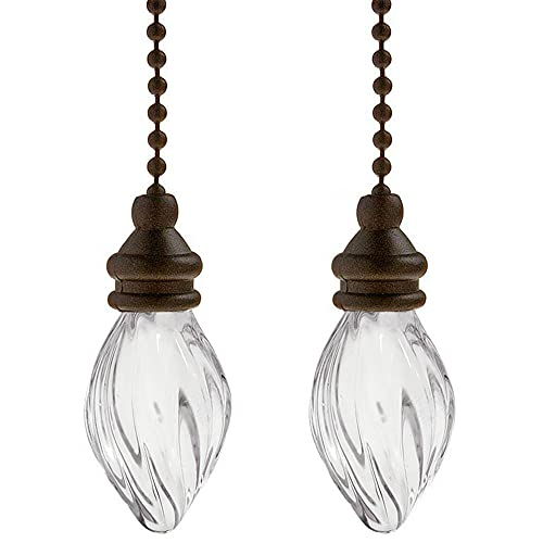 Ceiling Fan Pull Chains Ornaments 12 Inches Light Pull Chains with Extender Pendant Decorative Extensions for Ceiling Light Lamp Fan Chain(Bronze) 2 Pack