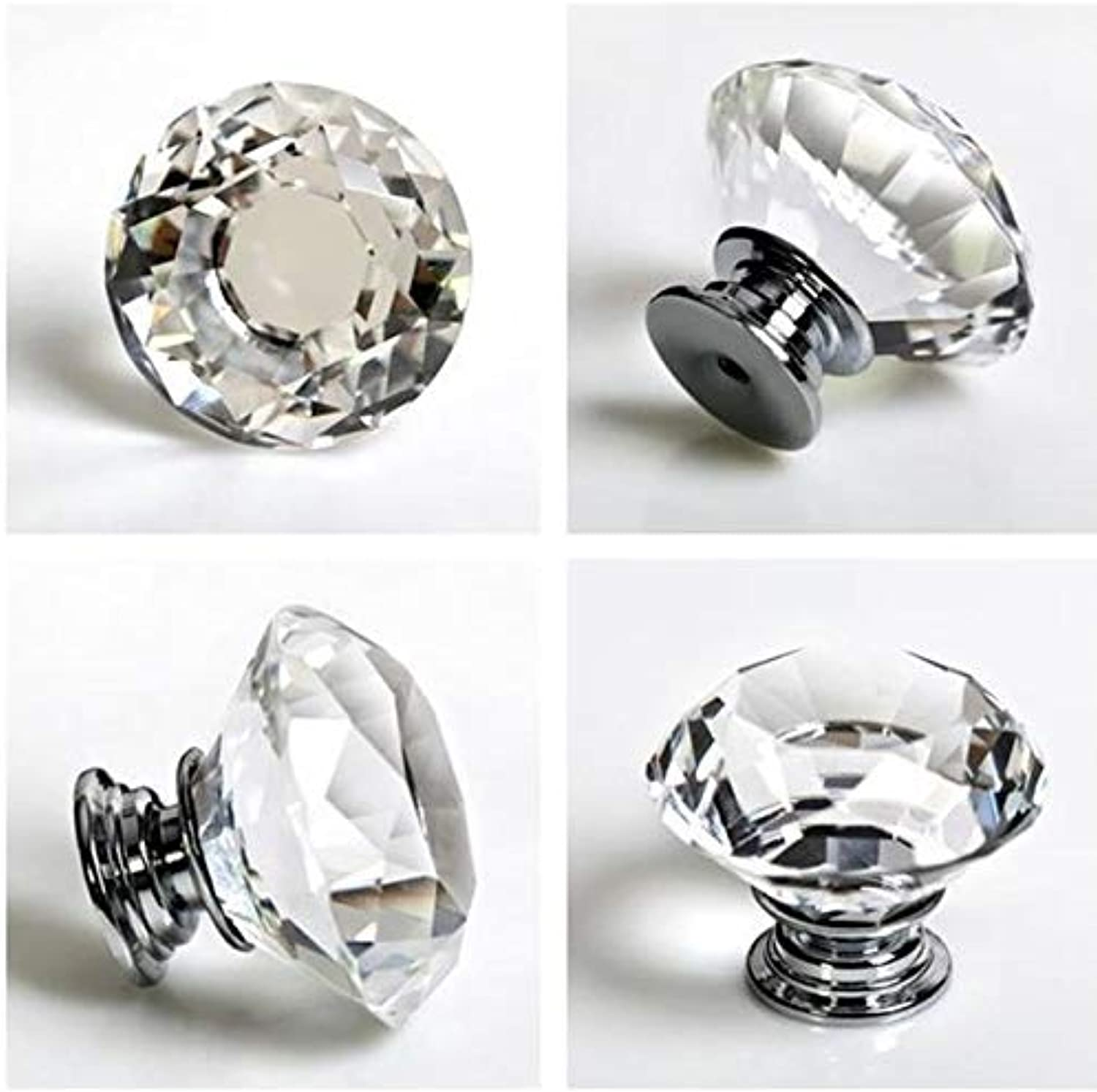 New Modern Home Transparent Crystal Cabinet Knobs Drawer Pull Round Cut Handles  (color  Transparent)