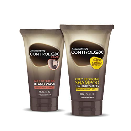 Just For Men Control GX Multipack, Shampoo for Lighter Shades of Hair, and Mustache and Beard Wash, Gradually Colors Grey Hair, 4 oz. Bottles