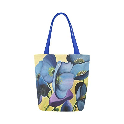 Tote Bag - Floral Tote, Flower Bag, Purse, Blue