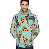 Unisex 3D Realistic Digital Print Pullover Hooded Sweatshirt Australian Cattle Dog Pizzas Oversized Hoodies Workout Thermal Hoody Jackets for Adult, King Size