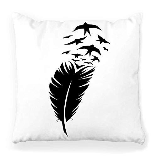 REAlCOOL Funda de almohada de 45,7 x 45,7 cm, diseño de plumas, color negro, silueta de pájaro, ángel plano, icono abstracto de dibujos animados contorno curvado