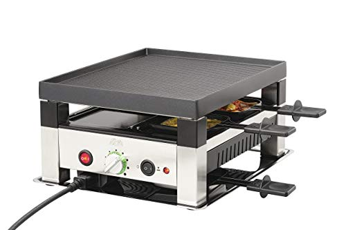 Solis Grill 5 in 1, Raclette + Tischgrill + Wok + Pizza + Crêpes, 4 Personen, Edelstahl, Table Grill 5 in 1 (Typ 7910)