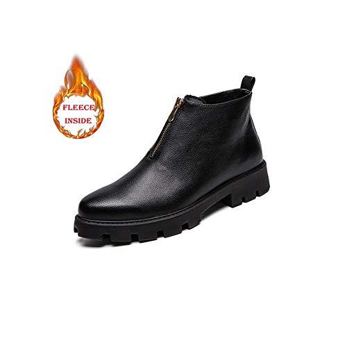 HuiLai Zhang Heren Enkel Laarzen Winter rundleer Schoenen met rits (Color : Black, Size : 39 EU)