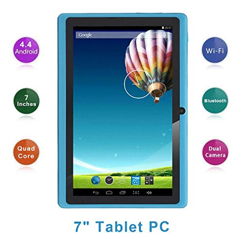 Haehne 7 Pollici Tablet PC, Google Android 4.4 Quad Core, 512MB RAM 8GB ROM, Doppia Fotocamera, Touchscreen Capacitivo, WiFi, Bluetooth, Cielo blu