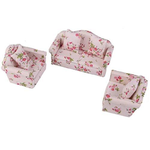 shentaotao 3 Piezas de Madera Floral Cojines del sofá Kit para la casa de muñecas en Miniatura 1/12 Muebles Decoración Hijo Los niños Los Juegos de simulación Juguetes