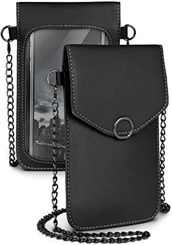 moex Handytasche zum Umhängen für alle HOMTOM Handys - Kleine Handtasche Damen mit separatem Handyfach & Sichtfenster - Crossbody Tasche, Schwarz
