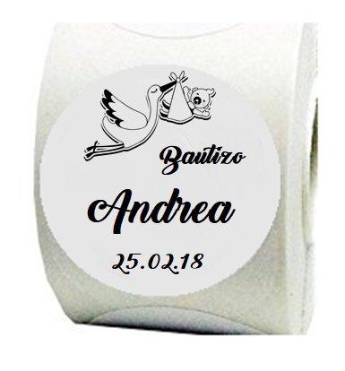 100 Etiquetas adhesivas Cigüeña 4 cm para bautizos personalizadas