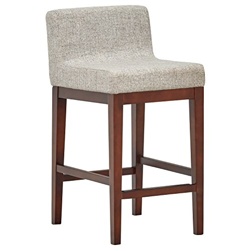 Amazon Brand – Rivet Mid-Century Modern Upholstered Low Back Kitchen Counter Height Stool, 37'H, Light Grey