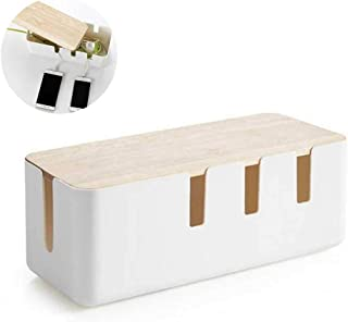 Bamboo Cable Management Box, Stylish Wooden Cord Organizer Box Hides Power Strip & Keeps Cords Untangled, Surge Protector ...