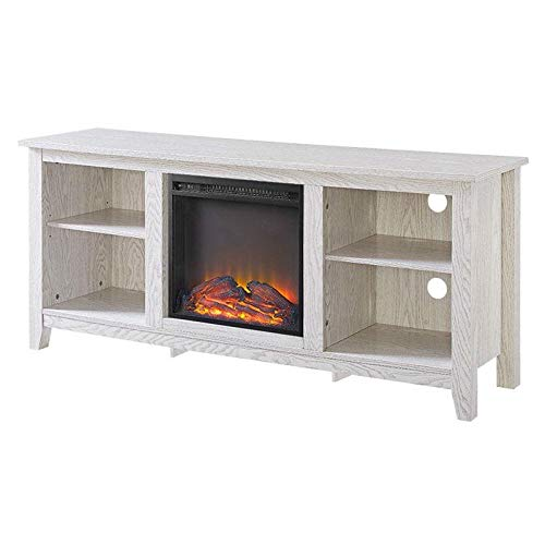 FastFurnishings Whitewash 58-inch TV Stand Electric Fireplace Space Heater