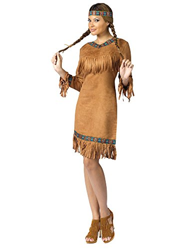 FunWorld Native American Adult, Brown, 10-14 Medium/Large Costume