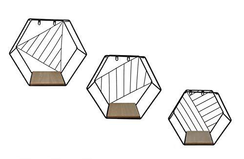 Metall Wandregal Hexagon im 3er Set - Sechseck Regale in 3 unterschiedlichen Größen - Design Hängeregal Bad Regal Küchenregal