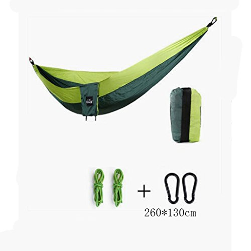 Hamac Outdoor Hamac Camping Camping Balançoire Hamac Balancelle d'alpinisme hamac vert Parachute hamac hamac portatif hamac anti-roulage (sac de rangement * 1, corde enfant * 2, boucle pendante * 2), (260 * 130cm)