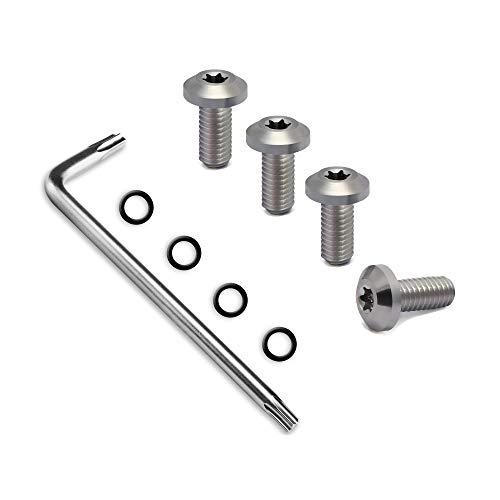 Guuun CZ Grips Screws, 4 O Rings, T10 Torx Key, 4 Stainless Steel Screws Fancy CZ Screws Silver