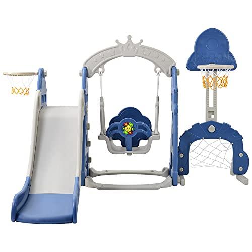 CHEIRS Tobogán y Columpio para niños pequeños, Parque Infantil 5 en 1, Torre de Juegos con tobogán y Columpio para Interior y Exterior, para niños de 2 a 8 años