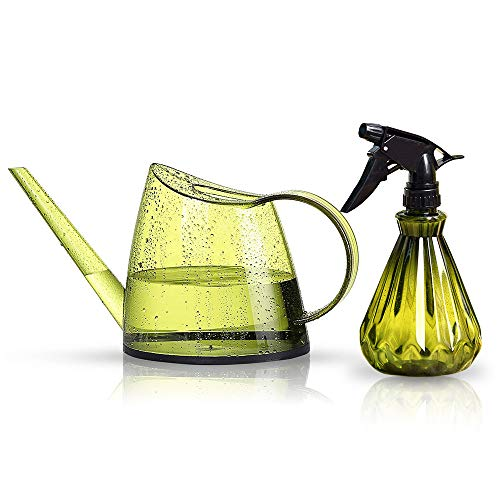 Lomesur Atrovirens Watering Can Set,1/3 Gallon 1.4 L Watering Pot and Mist Sprayer Bottle for Bonsai Plants,Succulents,Potted Flowers