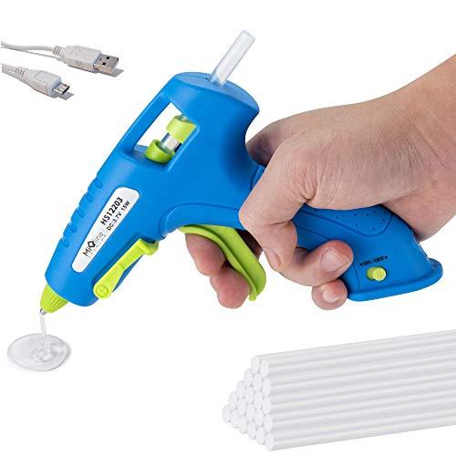 MIQLINE Cordless Hot Glue Gun Kit with 20pcs Glue Sticks – strong 2900mAh Li-ion USB Rechargeable Glue Gun, Fast Heating - for Kids & Adults DIY Crafts, School Project, Arts, Decorations, Fast Repairs