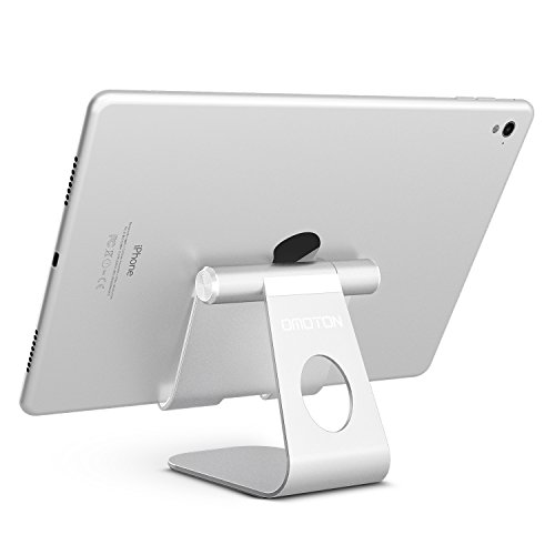 OMOTON Multi-Angle Tablet Stand, with Portable Adjustable Dock for iPad Pro 11/12.9(2020/2018)/iPad 10.2 (2019) and More iPad, Samsung Tablet etc, Durable Holder and Minimalist Design, Silver