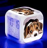 HNMB-WLKJ Wake Up Light Animal World Reloj Despertador Perro Mascota Cambio De Color Colorido Creativo LED Alarma De Regalo Electrónica