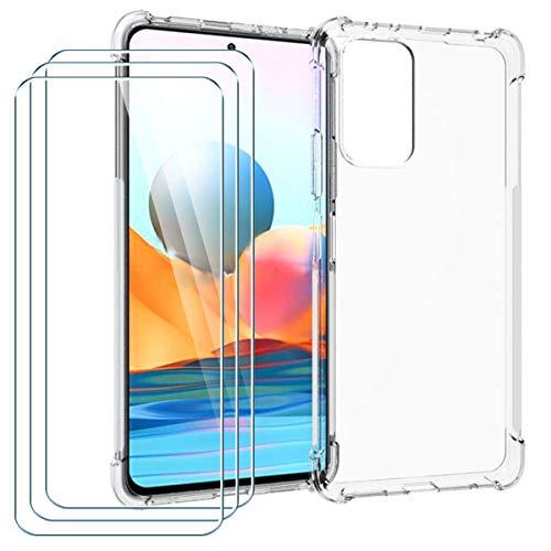 PZEMIN Case para Xiaomi Redmi Note 10 Pro Funda - [Crystal] [Airbag de Cuatro Esquinas] Clear Silicone Transparente TPU Bumper Carcasa Protección Cover Estuche + 3X Película Cristal Vidrio Templado