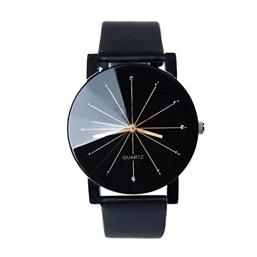 Relojes de Mujer, KanLin1986 Relojes de pulsera mujer banda de cuero relojes de acero inoxidable para mujeres-Negro