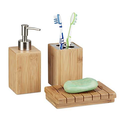 Relaxdays Badaccessoires Bambus, 3-teiliges Badezimmer Set aus Seifenspender, Seifenschale u. Zahnbürstenhalter, natur
