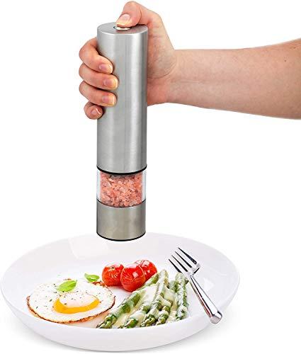 ROVE Elektrisch Pfeffermühle Edelstahl Salz und Pfeffermühle mit Keramikmahlwerk Salzmühle Gewürzmühle1er (Einzelpackung)