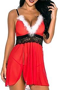ITVIP Conjunto de ropa interior sexy para mujer con encaje frontal de malla transparente con cuello en V M rojo