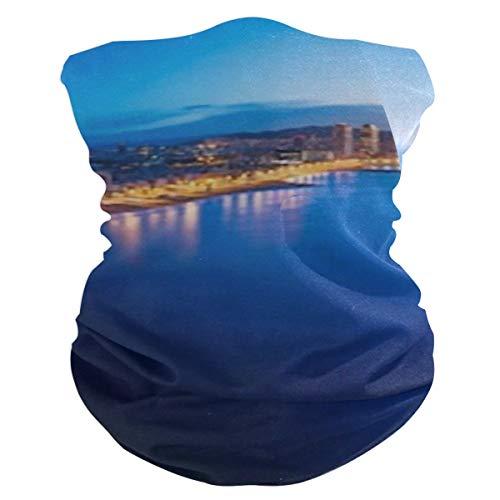 Diademas Anchas mágicas Unisex, Vista aérea Playa de Barcelona Noche de Verano...