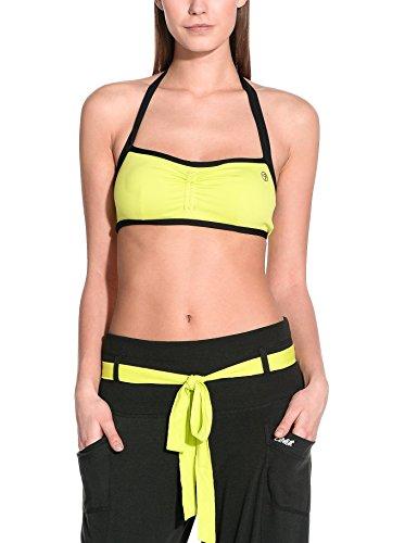 Zumba Fitness Bustier Haley's Corset Halter Bra - Sujetador Deportivo, Color Verde, Talla M