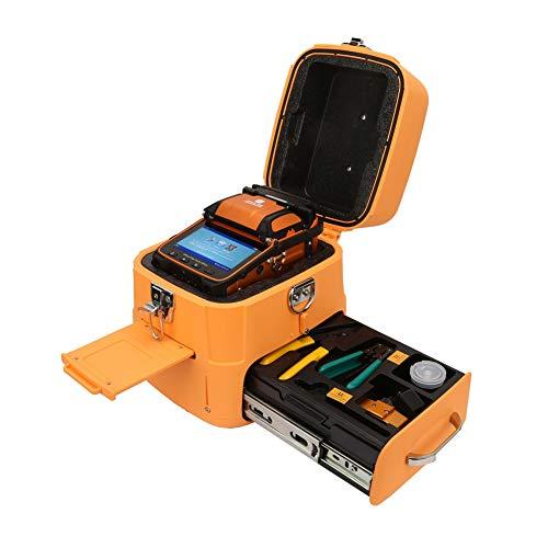 Fusionadora de Fibra Optica, Alineación de Núcleo Empalmador de Fusión de Fibra Óptica, Pantalla LCD TFT de 5 Pulgadas, Máquina de Empalme de Soldadura Fusión de Fibra para SM, MM, DS, NZDS(Yellow)