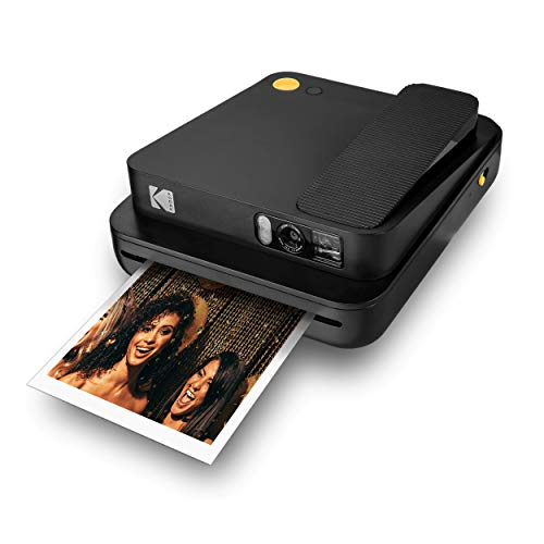 KODAK Smile Classic Digital Instant Camera for 3.5 x 4.25 Zink Photo Paper - Bluetooth, 16MP Pictures (Black) Sticker Frames Edition