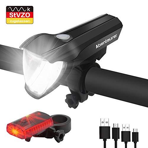 Abenteurer Fahrradlicht, Fahrrad Licht LED Set StVZO Zugelassen USB Wiederaufladbare 2200mAh Akku Fahrradbeleuchtung Vorne Rücklicht Set Wasserdicht Aufladbar Fahrradlampe Frontlicht 3 Licht-Modi