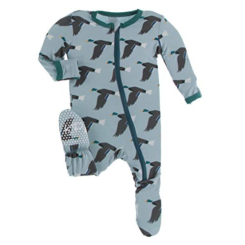 KicKee Pants Print Footie with Zipper, Fitting Long Sleeve Pajama Baby Bodysuit, Ultra Soft Everyday Onesie Loungewear, Baby Clothes for Boys and Girls (Jade Mallard Duck - 3-6 Months) Colorado