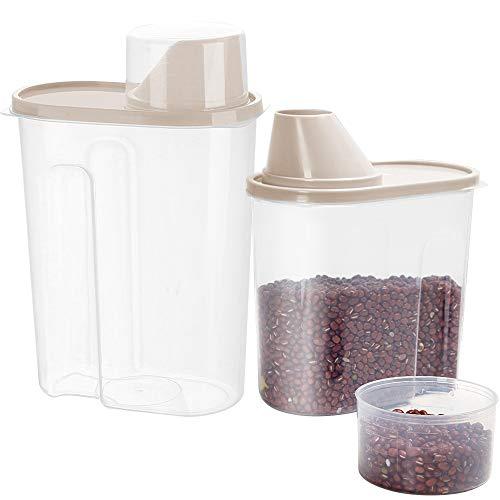 Contenitori per Cereali Plastica, ZoneYan Contenitori Pasta, Contenitori Alimentari Ermetici Dosatore, Set di Contenitori per Alimenti Ermetici, Senza BPA Contenitori per Alimenti Plastica