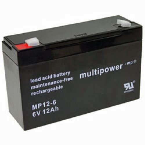 MultiPower Bleigel Akku/MP12-6/6V 12Ah/4,8 mm Faston Stecker/Wartungsfrei/Bleigel Batterie
