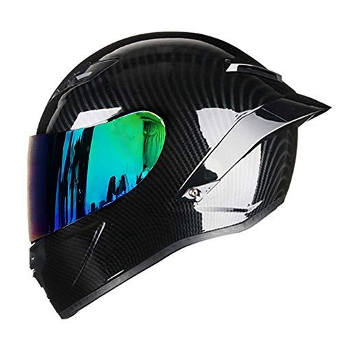 Woljay Vollgesicht Integralhelm Motorradhelm Unisex-Adult Offroad Moto Street Bike ATV Helme Glas Schwarz DOT Approved (Colours,L)