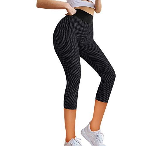 YRxUIAI Capri - Leggings deportivos anticelulitis para mujer, cintura alta, para yoga, Push Up Pants, pantalones de compresión elásticos para entrenamiento, fitness, running, gimnasio Negro M
