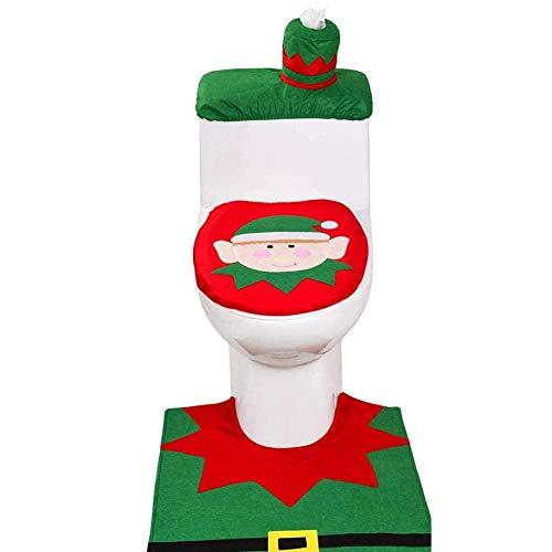 Sweetums Signatures 3 pcs Set of Christmas Toilet Decorations, red Christmas Toilet Set Decorations, Santa Claus, Snowman, elf Cute Pattern Bathroom Decorations (elf)