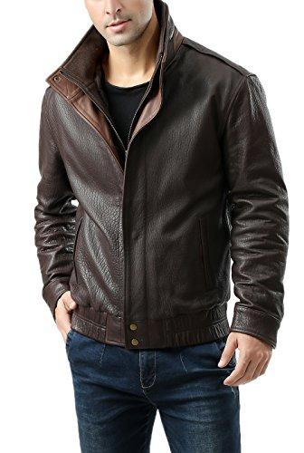 BGSD Men's Brandon New Zealand Lambskin Leather Bomber Jacket Brown Large