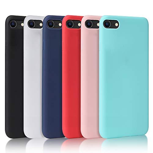 Oureidoo 6X Funda iPhone SE 2020 / iPhone 8/7, Carcasa en Silicona - [ Negro + Blanco Translúcido + Azul Claro + Rojo + Rosado + Menta Verde ]
