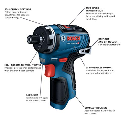 Bosch GSR12V-300HXN 12V Max Brushless 1/4 In. Hex Two-Speed Screwdriver (Bare Tool)