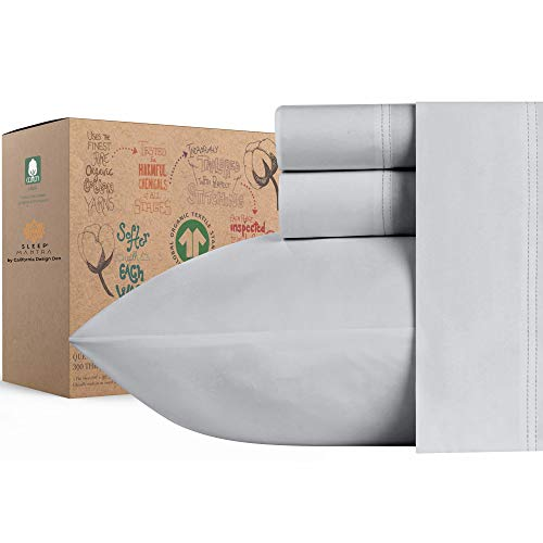 100% Organic Cotton Bed Sheets - Crisp and Cooling Percale Weave, Breathable 4 Piece Sheet Set, Deep Pocket with All-Around Elastic (King, Light Grey)