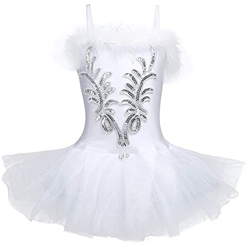 ZUYPSK Kids Girls Swan Costume Sequined Ballet Dance Leotard Tutu Dress with Fingerless Long Gloves Hair Clip Set (10-12)