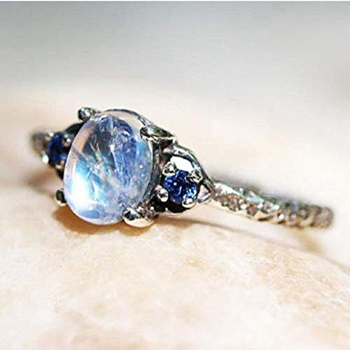 Finemall Simple 925 Silver Moonstone Ring Women Engagement Wedding Promise Band Ring Size 6-10 (US 8)
