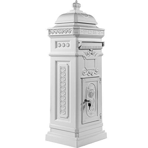 Maxstore Antiker englischer Standbriefkasten, rostfreies Aluminium, Höhe: 102,5 cm, Farbe: Weiß
