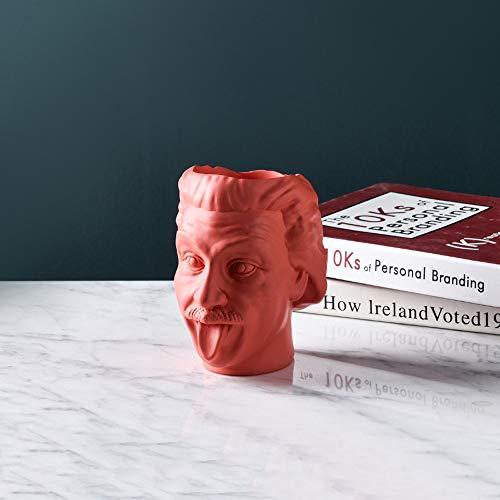 Rishx Einstein Avatar Jarrón florero Cabeza Humana Retrato Tiesto Titular de la Pluma Tanque de Almacenamiento de Flores de la Estatua del Ornamento Científico (Color : Rosado)