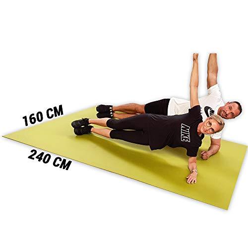GYMEX Performance Fitness-Matte XXL, extra groß, rollbar, für Yoga, Sport & Fitness 240x160cm (Blau)